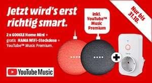 [Media Markt bundesweit offline & online] 2x Google Home Mini + Hama Wifi Steckdose + Youtube Premium