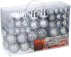100-teiliges Weihnachtskugel-Set silber