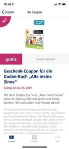 """[dm Glückskind App] - Coupon für Duden-Buch """"Alle meine Sinne"""""""