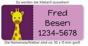 20% auf Namenaufkleber bei Kleberli.de