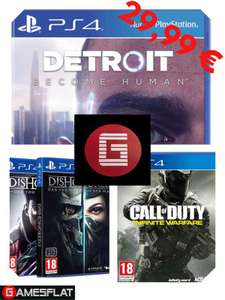 Detroit: Become Human + Dishonored 2 + Dishonored Tod des Outsiders + Call of Duty Infinite Warfare + Doom (PS4) für 26,64€ (Gamesflat)