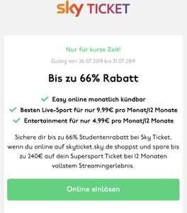 Sky Ticket Supersport für 9,99 (Student)