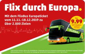Flixbus Europaticket für 9,99€ 4.11-9.11 ! Einlösbar: 11.11-18.12.19 @ Penny