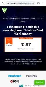 PureVPN 1-Jahres-Plan. 10.49€
