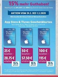 [Lidl /Edeka/Marktkauf,NP etc. ab 24.02] 15% mehr Guthaben auf App Store und ITunes Karten (25€,50€,100€)