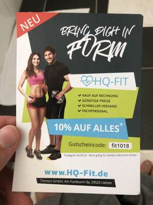 10% rabattcode bei hq fit