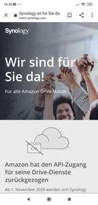 Kostenloses synology c2 cloud bis März 2021 für Amazon drive Nutzer
