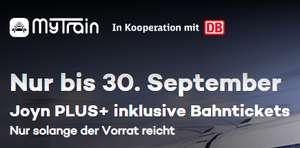VERLÄNGERT: MyTrain: Reisepaket (2 x DB Tickets & 6 Monate Joyn+ 59,90€) oder Starter Paket (1 x DB Ticket & 3 Monate Joyn+ 34,90 €)