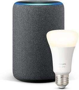 AMAZON Echo Plus (2. Gen.) Smart Speaker in schwarz + PHILIPS Hue White E27 Bluetooth LED Lampe Warmweiß