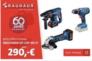 (Bauhaus Dresden) Bosch Professional Maschinen-Set GSR 18V-21, GBH 18V-20 & GWS 18-125 V-Li