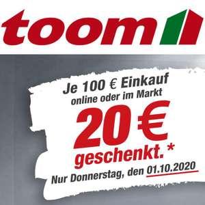 toom Gutscheintag: 20€ Gutschein je 100€ Einkauf geschenkt am 01.10. (online oder im Markt)