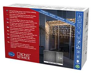 [Amazon Prime] Konstsmide 4730-112 LED Kompakt System Basis-Set: Lichtervorhang u. Transformator ( IP67, 24V Außentrafo, 104 warm weiße )