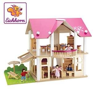 [Amazon] Eichhorn 100002513 - Puppenvilla inkl. 4 Puppen und Möbeln, 27-tlg., 50x75x55cm, Puppenhaus aus Kiefernholz