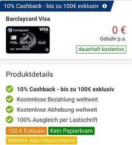 [CHECK24] Barclaycard 10% Cashback bis 100€