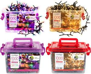 500er Cherry Cluster (9,95€) oder 1000 LED Cluster Lichterketten , warmweiß oder bunt, 20m+5m (16,95€)