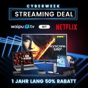 Waipu Cyberweek: 50% auf das Perfect-Paket (5€/6,50€), mit Netflix (10,25€/11,75€ mtl.)