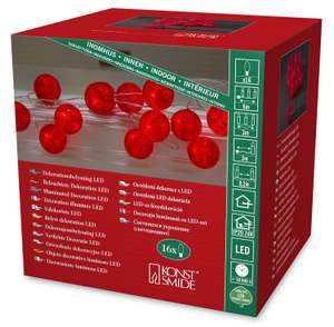 Konstsmide LED-Deko-Lichterkette (Mit 16 roten Baumwollkugeln, 300 cm, IP 20, 24 V) [DEALCLUB]