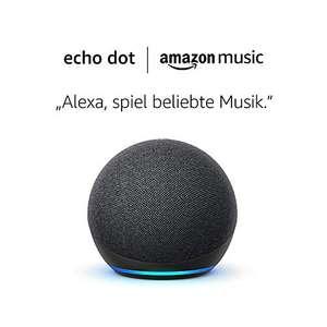 Amazon Echo Dot (4. Generation) Anthrazit Stoff + Amazon Music Unlimited (6 Monate gratis, danach kostenpflichtig)