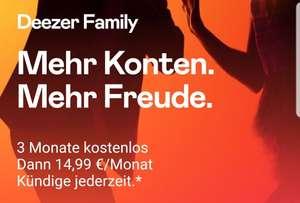 Deezer Family 3 Monate kostenlos mit 6 Accounts, danach 14,99€, monatlich kündbar