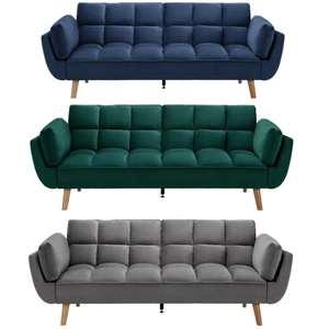 Schlafsofa 'Cora' in blau, grün oder grau / Samtbezug / Breite/Höhe/Tiefe: 214/92/81 cm / Filiallieferung