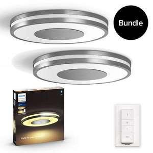 Philips Hue Bundle: 2 x Hue White & Ambiance Deckenleuchte Beeing (neue Version - Bluetooth) + 2 Hue Dimmschalter - in 3 Farben verfügbar