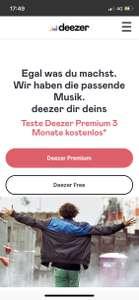Deezer Premium oder HiFi 3 Monate kostenlos Apple Music Streaming Testen. Nur Neukunden