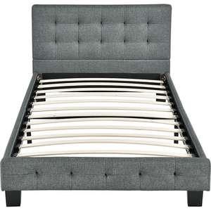 ArtLife Polsterbett Manresa 90 x 200 cm - Bett mit Lattenrost und Kopfteil - Grau