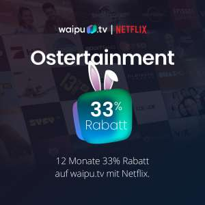 waipu.tv Osteraktion: 12 Monate -33% auf das Perfect Plus Paket (mtl. 8,70€, mtl. kündbar) mit 135 HD Sendern, 100h Aufnahmespeicher, etc.