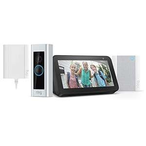 Ring Video Doorbell Pro mit Netzteil + Chime + Echo Show 5, 1080p HD-Video, Gegensprechfunktion, Bewegungserfassung, über WLAN