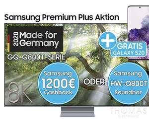Samsung GQ82Q800T 8K QLED TV - 1.200€ Cashback + Gratis Galaxy S20 Smartphone