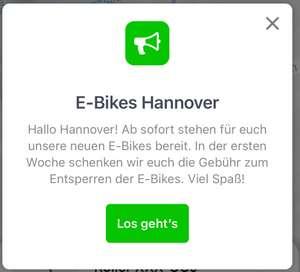 """[lokal Hannover] Erste Woche gratis Lime eBike entsperren """"Eröffnungsangebot"""""""