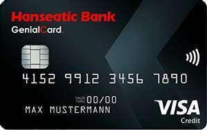 Hanseatic Bank GenialCard VISA   80€ Bonus · KwK/Cashback   dauerhaft ohne Jahresgebühr · weltweit gebührenfrei bezahlen & Bargeld abheben