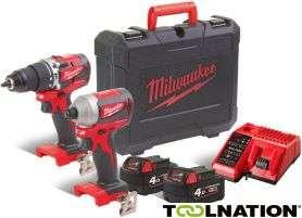Milwaukee 18V bürstenlose Akku-Schlagbohrmaschine + Schlagschrauber + 2x 4Ah + Ladegerät/Koffer