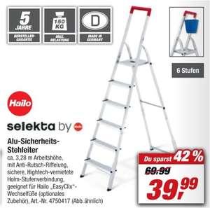 HAILO Alu-Sicherheits-Stehleiter 6-stufig für 39,99 Euro [Toom Filiale]