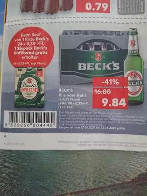 Kaufland offline beck's bier Pils Gold 1 kasten kaufen +6er Träger unfiltered naturtrübes gratis dazu