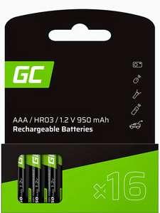 [Amazon Prime] Green Cell 950mAh 1.2V 16 Stck Vorgeladene Ni-MH AAA-Akkus