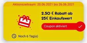 Netto Markendiscount 2,50€ Rabatt ab 25€ in der App