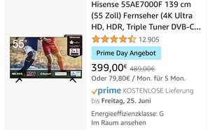 [Amazon Prime Day] Hisense 55AE7000F 139 cm (55 Zoll) Fernseher (4K Ultra HD),TV
