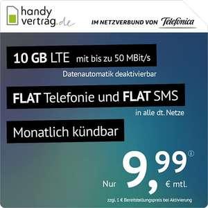 Prime Day: Telefonica handyvertrag.de LTE All Allnet/SMS Flat 10 GB LTE bis 50Mbit/s, monatlich kündbar, 9,99€ mtl., 5€ einmalig; 3GB 4,99€