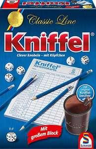 Kniffel, Schmidt Spiele 49203, Classic Line, mit großem Block, mit original Kniffelbecher (Prime Mitglieder)