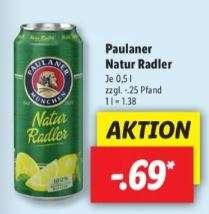 Paulaner Naturradler 500ml Dose für 0,69€ , zzgl. 0,25€ Pfand [LIDL]