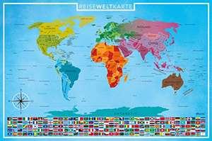 Europa- / Weltkarte zum Frei-Rubbeln, Deutsch, 89 x 59 cm