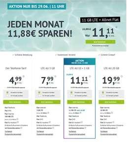 Bis 29.06.21 11 Uhr, O2 LTE Allnet + SMS, 11 GB monatlich kündbar, Down 50/Up 32 MBit, EU Roaming, 19,99€ Anschluss, 6,82 € Wechselbonus