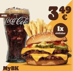 Double Cheeseburger + mittlere King Pommes + 0,4L Coca Cola für 3,49€ [Burger King MyBK]