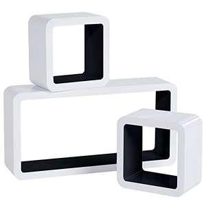 3 Wandregale / Hängeregale in Würfelform schwarz-weiß @Amazon-Marketplace