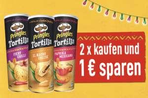 [Scondoo] 1 € Cashback beim Kauf von 2 Dosen Pringles Tortilla Chips, 10x einlösbar (REWE aktuell 1,39 € pro Dose)