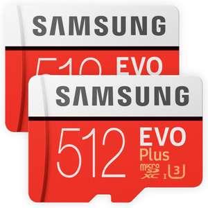 2x Samsung EVO Plus MicroSD 512GB (100MB/s Lesen   90MB/s Schreiben, UHS-I U3 Zertifiziert, inkl. SD-Adapter, 10 Jahre Garantie)