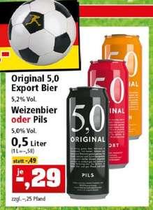 5,0 ORIGINAL in 0,5l-Dosen: Pils, Weizen oder Export Bier (58 Cent/Liter)