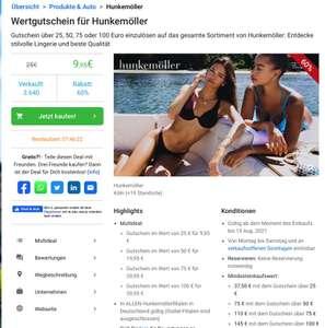 Hunkemöller Wertgutschein 25€ für 9,95€ (MBW: 37,50€)