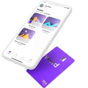 Vivid Money VISA Debit + Girokonto · 30€/30€ Prämie + 50€/50€ Cashback pro KwK (z.B. Aldi, Aral, Bauhaus, dm, Kaufland, Lidl, OBI, Saturn)